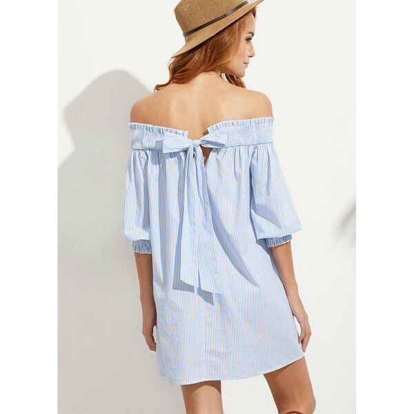 Élégant dress gown short long sleeve bluee striped soft soft soft 4694 cfa265