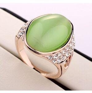 Designer Luxus Damen Ring Gold 750 18krgp Katzenauge Mit Grunem