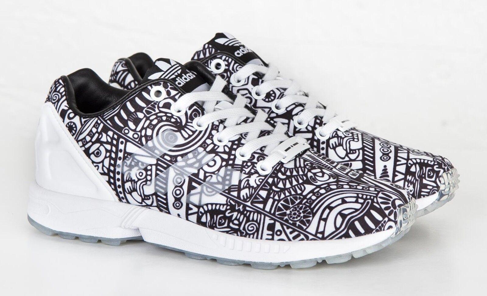 Adidas Originals Para Hombre y ZX Flux Tenis Blanco y Hombre negro Geo Patrón tamaño dc7fa1