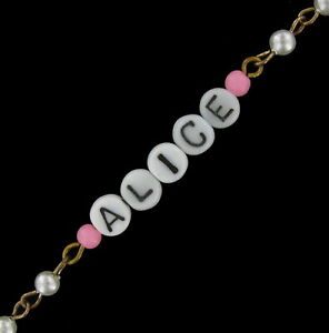 Alice - Pink Glass Faux Pearl Name Link Bracelet - Circa 1950-60