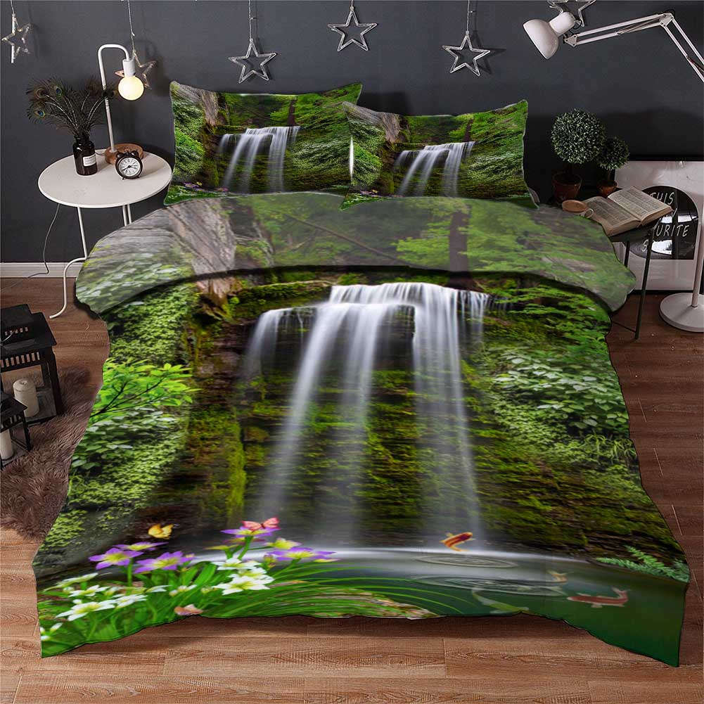 Waterfall Height 3D Printing Duvet Quilt Doona Covers Pillow Case Bedding Sets