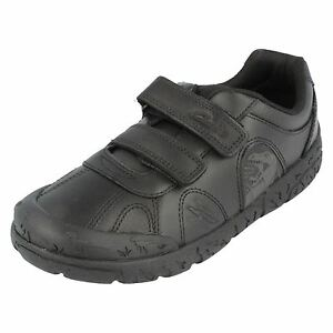 Boys Clarks Black Leather Shoes UK Sizes 7-2, F, G and H Fittings Bronto step
