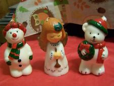 Vintage SNOWMAN +ANGEL+ BEAR  CHRISTMAS Candle Wax Decoration As Is Condition