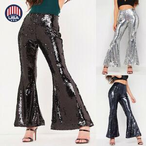 8c503759d US Women Sequins Shiny High Waist Stretch Flare Pants Nightclub Long ...