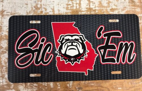 UGA Carbon Sic Em New Head Pattern Georgia Bulldogs License Plate Car Tag