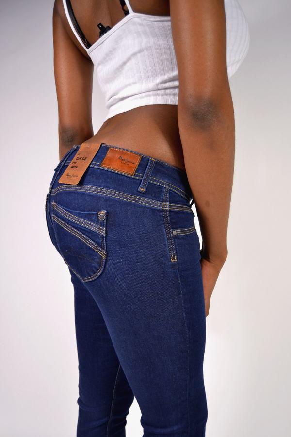 Knack-Po Röhrenjeans PEPE Jeans ARIEL PL200959I012 Dunkelblau Low Waist W24 L32