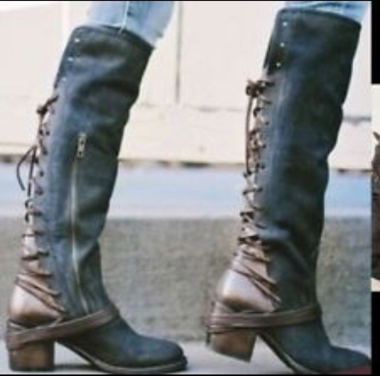 FREEBIRD BY STEVEN COAL Navy Suede TALL CORSET BOOT NIB size size 7