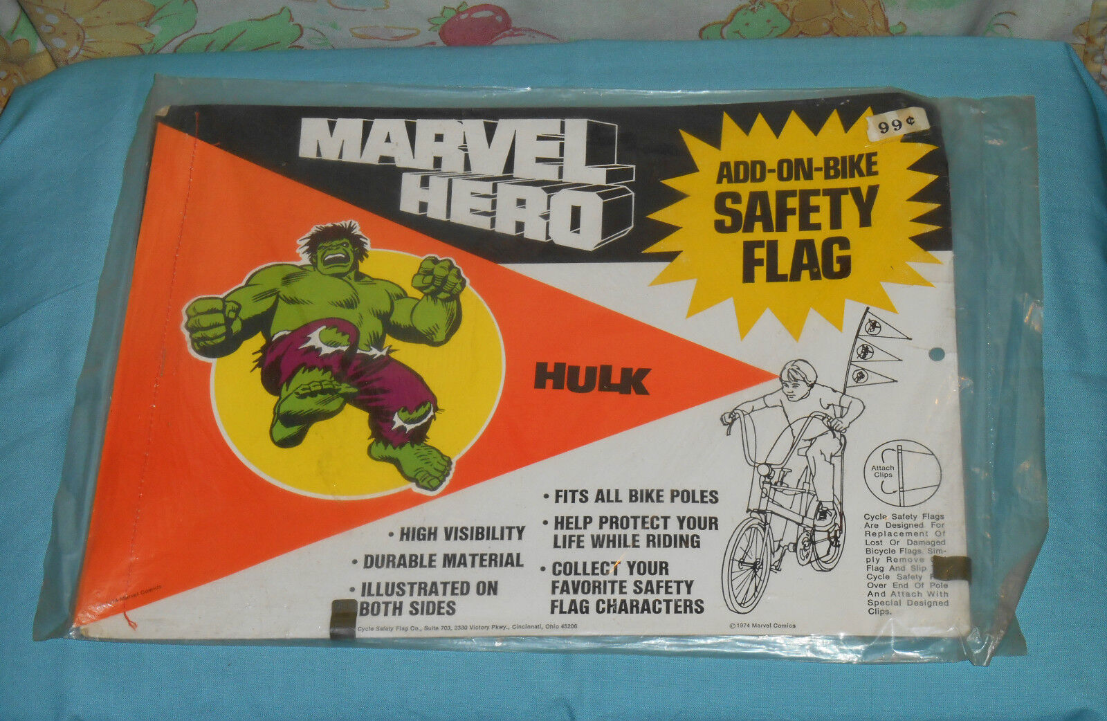 Vintage Marvel Hero THE INCREDIBLE HULK BIKE SAFETY FLAG MIP bicycle