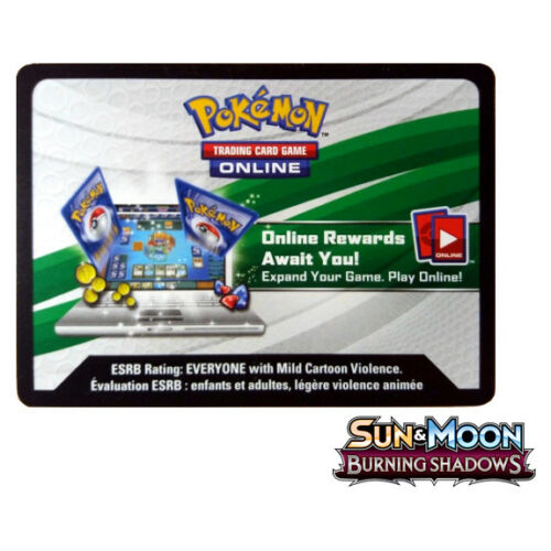 MESSAGE TCGO Code Card x 2 Sun /& Moon Burning Shadows Booster Pack