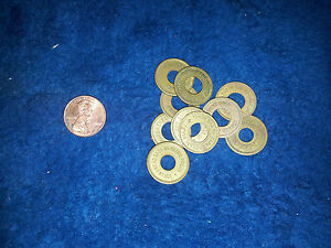 OK-VENDER-TOKENS-034-LOT-OF-10-TOKENS-034-Antique-Slot-Machine-TOKEN-PENNY-SIZE