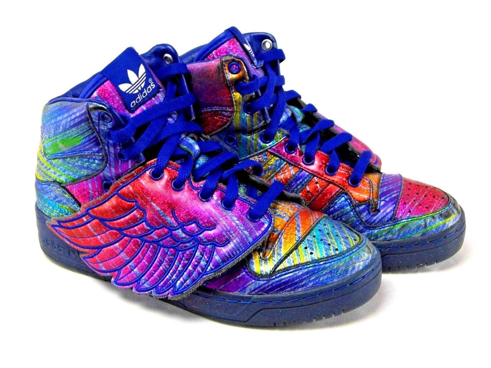 Rare Adidas Jeremy Scott Rainbow Hologram Wings Hi-Top Sneakers Size 6.5  Q23650