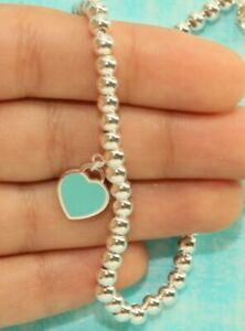 3b1007b65 Mini Heart Tag Bead Ball Bracelet Tiffany Enamel 925 Solid Sterling ...