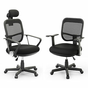 executive office computer desk chair mesh seat mid back high back