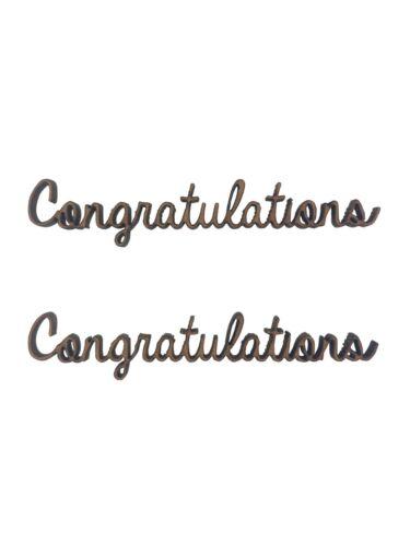 6x Congratulations Words 7cm Wood Craft Embelishments Laser Cut Shape MDF
