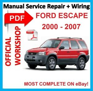 official workshop manual service repair for ford escape 2000 2007 rh ebay co uk ford escape 2007 owners manual 2008 Ford Escape