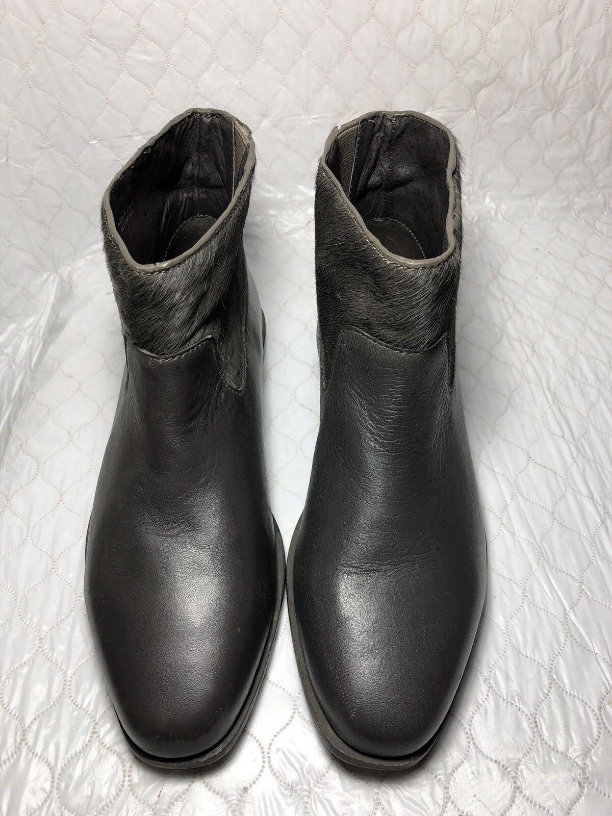 Saint & Libertine Trinket Grau Leder Calf Hair Ankle Stiefel NEU York Größe-8.5 M