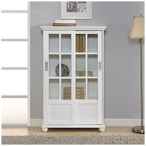Image Is Loading White Sliding Window Pane Gl Door Curio Cabinet