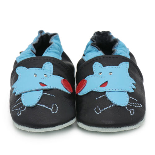 carozoo wolf black 18-24m soft sole leather baby shoes