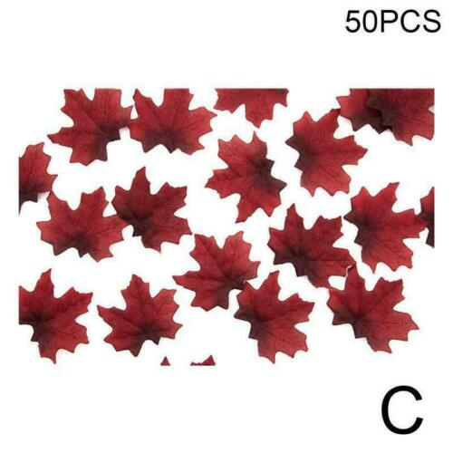 50Pcs Autumn Maple Leaf Fall Fake Silk Leaves Craft Party Decor XMAS O1A0
