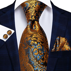 Gold Blue Brown Paisley USA Mens Tie Necktie Silk Jacquard Woven Set Wedding