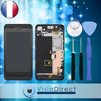 Ecran Vitre Complet Sur Chassis Pour Blackberry Z10 4g 001/111 Noir + Outils