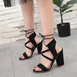 229620148de Women Sexy Open Toe Ankle Strap Sandals High Block Heels Party Dress ...