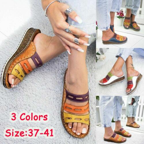 watch 2019 authentic noveldesign Ladies Womens Mules Sandals Wedge Heel Slip On Summer Shoes Size 2.5-8.5 UK