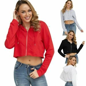 Women-039-s-Long-Sleeve-Cropped-Top-Front-Zip-Up-Ladies-Sweatshirt-Hoodied-T-shirt
