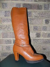 Vintage tan leather knee boots fleece lined  60s 70s MOD Scooter