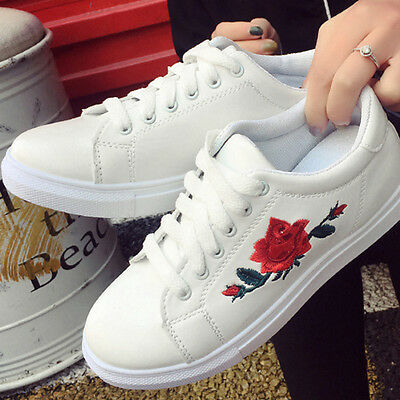Fashion Womens Lace Up Sports Running Sneakers Embroidery Flower Trainers New.