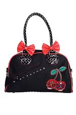 Banned Apparel Cherry Skulls Dots Bows Cute Punk Goth Black Bag Purse Handbag
