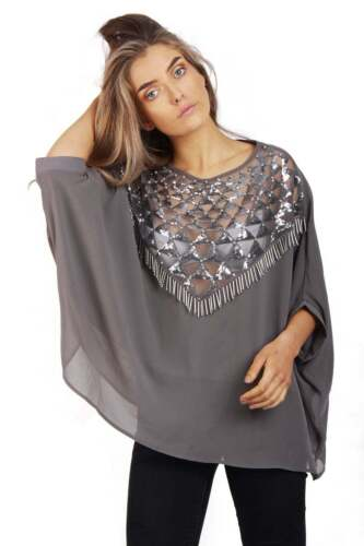 Womens Oversized Sequin Poncho Top Ladies Jumper Chiffon Top Xmas Party Clubwear
