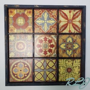 Details About Large Decorative Rustic Distressed Multi Color Wood Tile Wall Art Panel Decor