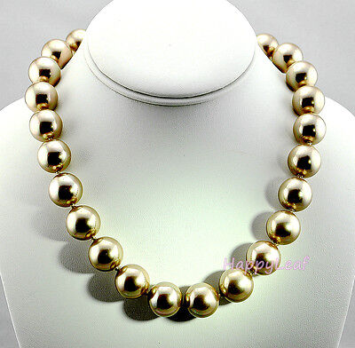 """15-16mm Large Top white black golden South Sea SHELL Pearl Strand Necklace 18/"""""""
