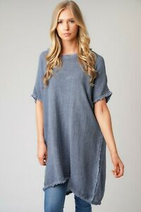 New-Ladies-Oversized-Italian-Boxy-Cotton-Tassel-Hem-Lagenlook-Long-Tunic-Top