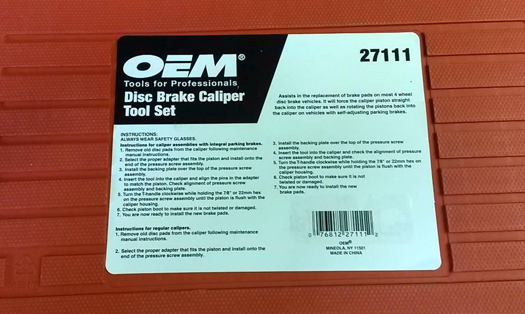 Oem 27111 Disc Brake Tool Set For Single Piston Calipers Rust