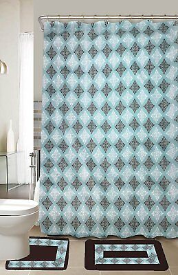 Lucy Turquoise Brown 15-Piece Bathroom Accessory Set 2 Bath Mats Shower Curtain