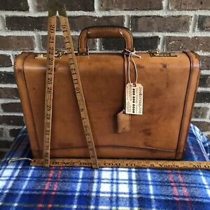 RARE-VINTAGE-1980s-BRITISH-TAN-BELTING-LEATHER-HARDSIDE-MACBOOK-BRIEFCASE-R-1898