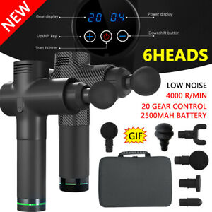 LCD-Electric-Massage-Gun-6-Heads-2500mAh-Vibration-Muscle-Therapy-4000r-min-AU