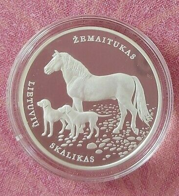 """Lithuania 10 EURO 2017 Horse and dog /""""Lithuanian nature /"""" PROOF Silver coin"""