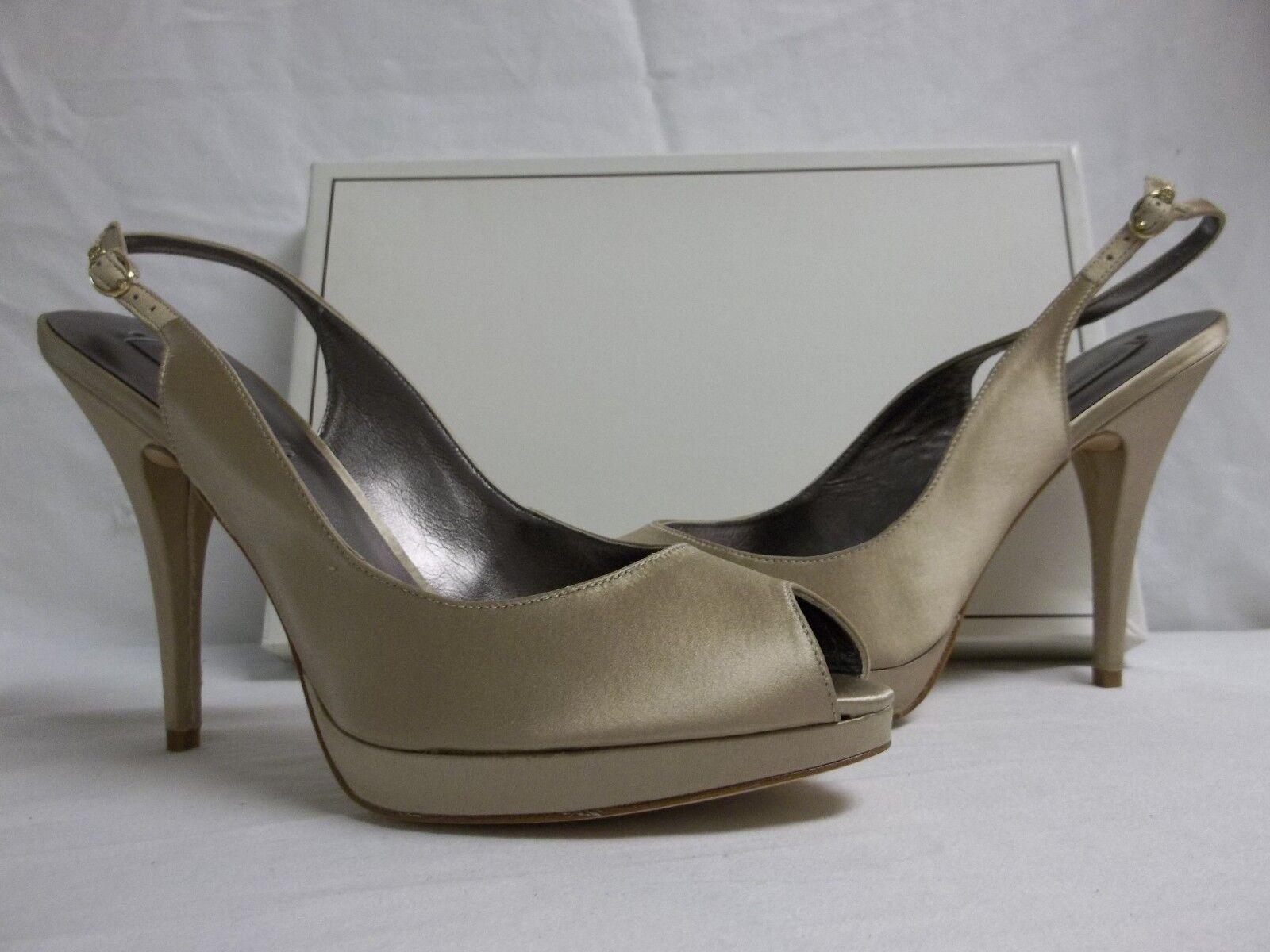 BCBG Max Azria Sz 9.5 M Libby Champagne Satin Slingbacks Heels NEU Damenschuhe Schuhes