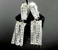 White Crystal Dangle Clip On 2 Long Earrings Silver Plated Jewelry Pageant