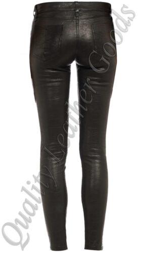 Donna Nero Leggings Da Lussuoso Premium Pantaloni Attillati Pelle Pecora Jeans HFxqwZCd