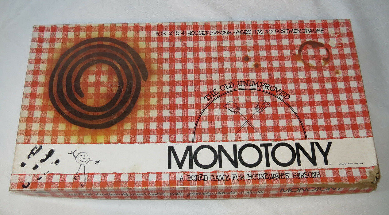 Monotony A Bored Game For Housepersons box is damaged board game Pre Owned