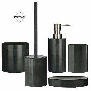 Image Is Loading 5pc Dark Grey Marble Bathroom Set Toilet Brush