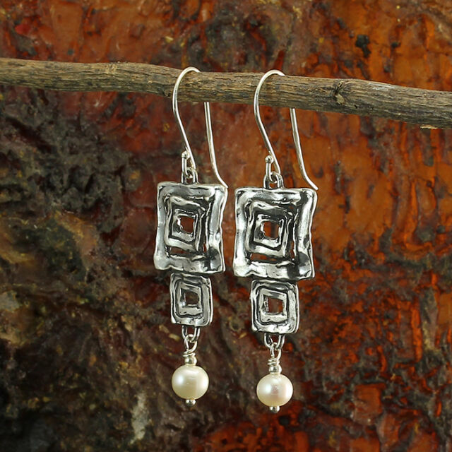Multi Square Dangle Earrings 925 Sterling Silver & Pearls Stera Jewelry X512