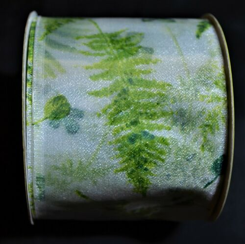 """Floral Green Leaves New 2 1//2/"""" wide Craft Fabric Ribbon 3-4 yards Wire Edge"""