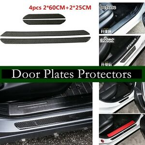 4X-Car-Scuff-Plate-Door-Sill-Cover-Panel-Step-Protector-Carbon-Fiber-60CM-25CM