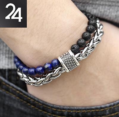 Edelstahl Armband Lapis Lazuli Knebelverschluss Lava Perlen Biker 6mm Db184