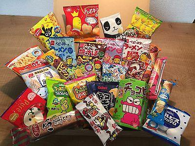 Selected Japanese Snack Set, 25pc of snacks/candies/dagashi, Waku-waku Box